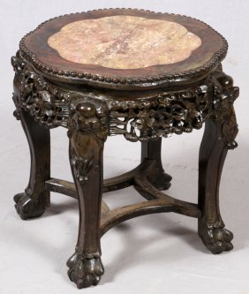 Chinese Inlaid Marble Table 19th C.
