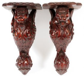 Carved Mahogany Curio Brackets, Pair