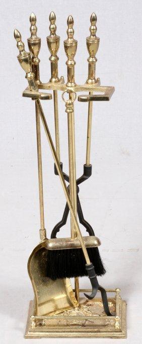Set Of Brass Fireplace Tools