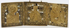 Russian Orthodox Enameled Brass Triptych