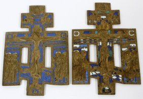 Russian Orthodox Enameled Brass Crucifixes, Two