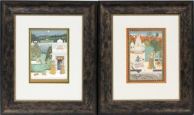 Indian Miniature Mughal Style Watercolors, Two