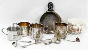 10593: SILVER & BONE CHINA BABY CUPS & WARE