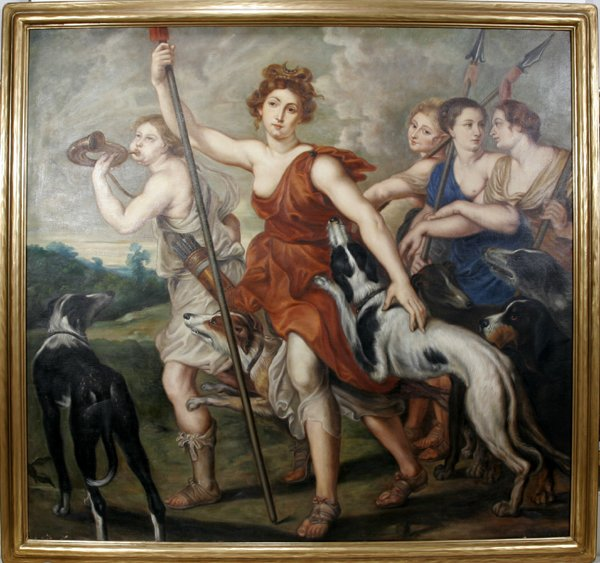 12008: C. OLIVER, OIL ON CANVAS, DIANA THE HUNTRESS