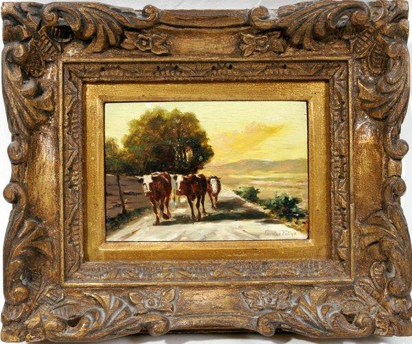 "12012: CAROLUS PALLYA OIL ON WOOD PANEL, 5""x7"", FARM"