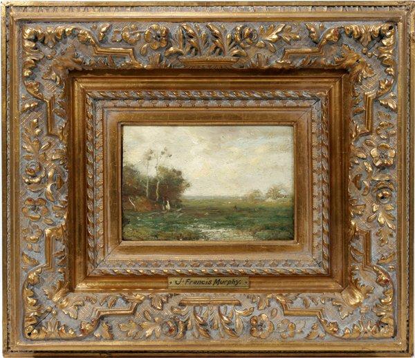 12015: JOHN F. MURPHY, OIL ON PAPER, AUTUMN LANDSCAPE