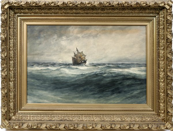 12021: ROBERT HOPKIN, WATERCOLOR, 1885, CLIPPER SHIP