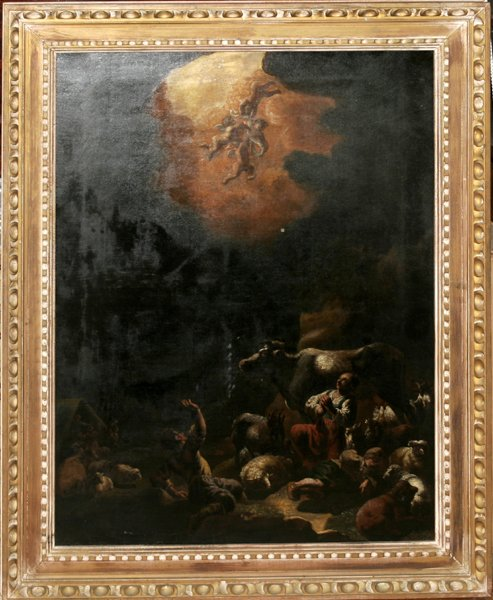 12171: OIL ON CANVAS, BIRTH OF CHRIST ANNOUNCED