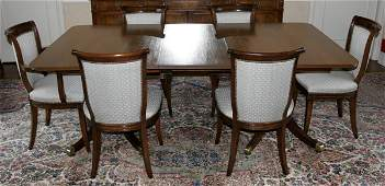 12185: SCHMIEG MAHOGANY DINING TABLE & CHAIRS