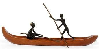 VIENNA BRONZE, AFRICAN FIGURES IN A CANOE