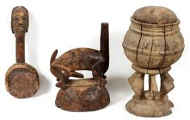 AFRICAN WOOD COVERED POT, SPOON & CAP MASK
