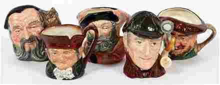 ROYAL DOULTON PORCELAIN TOBY MUGS 5 PCS