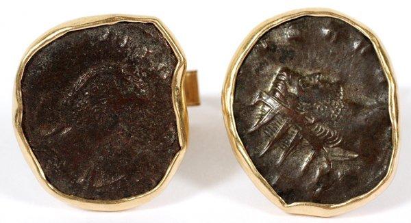 14KT YELLOW GOLD & ANTIQUE COIN CUFFLINKS PAIR