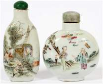 CHINESE PORCELAIN SNUFF BOTTLES, TWO