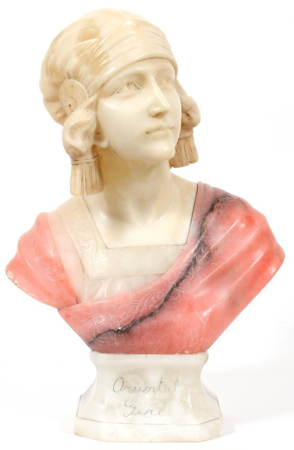 G. PINESCHI, CARVED MARBLE & ALABASTER BUST OF LADY