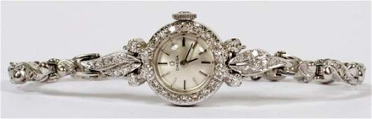 OMEGA 14 KT WHITE GOLD AND DIAMOND WATCH