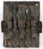 AFRICAN BENIN STYLE BRONZE FIGURAL GROUP