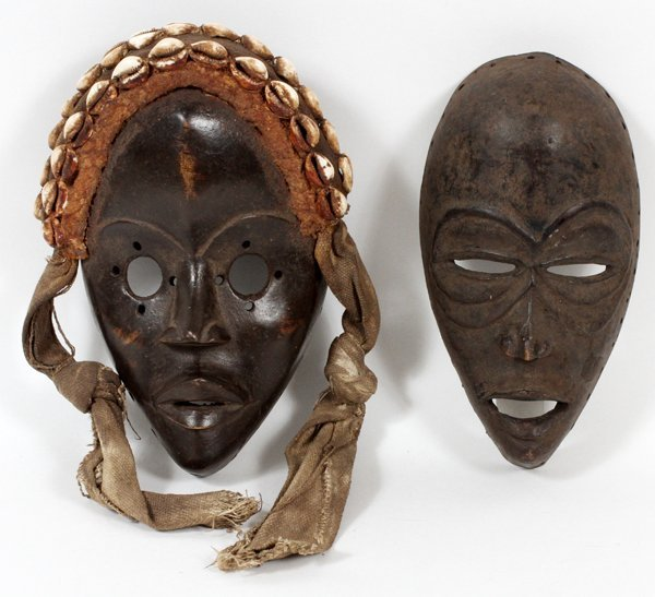 AFRICAN CARVED MASKS 2 PIECES