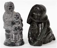 INUIT CARVED STONE FIGURES TWO