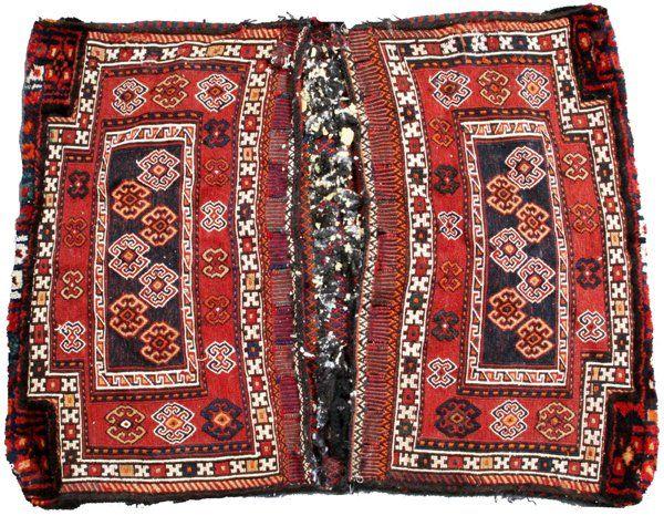 TURKISH HAND WOVEN WOOL SADDLEBAG 1900
