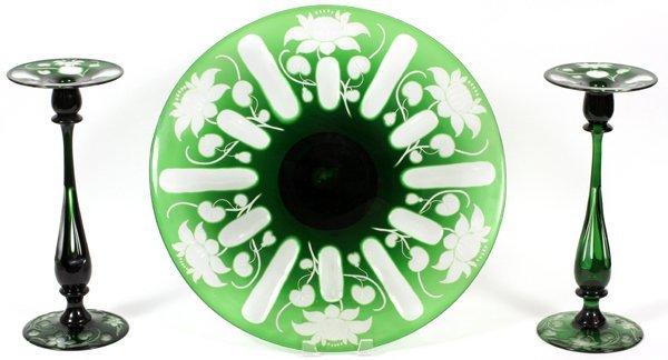 LIBBEY GLASS CENTERPIECE & PAIR OF CANDLESTICKS