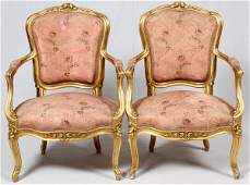LOUIS XV STYLE CARVED GILT WOOD ARMCHAIRS PAIR
