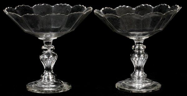 WATERFORD CRYSTAL COMPOTES C. 1810 PAIR