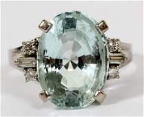 7 CT. AQUAMARINE DIAMOND & 14KT WHITE GOLD RING