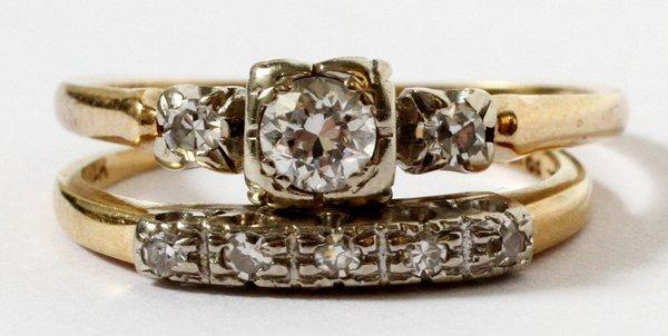 14KT YELLOW GOLD & DIAMOND WEDDING RING ENSEMBLE