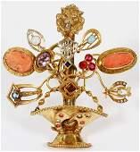 EDWARDIAN YELLOW GOLD & SEMI PRECIOUS STONE BROOCH