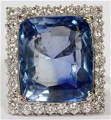 NATURAL BLUE SAPPHIRE  DIAMOND  PLATINUM RING
