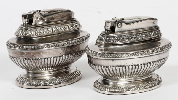 RONSON QUEEN ANNE PATTERN SILVER PLATE WICK LIGHTERS C.