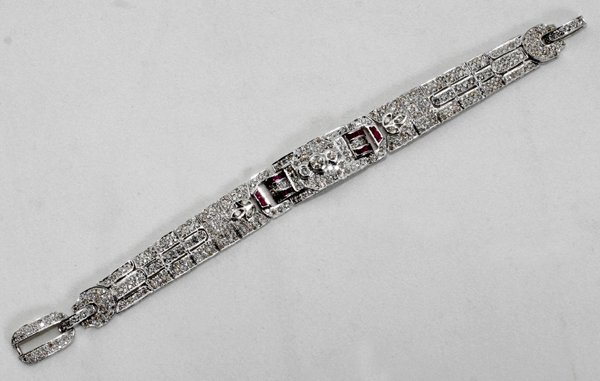 020002: 5.6 CT DIAMOND, 1.1 CT RUBY & GOLD BRACELET