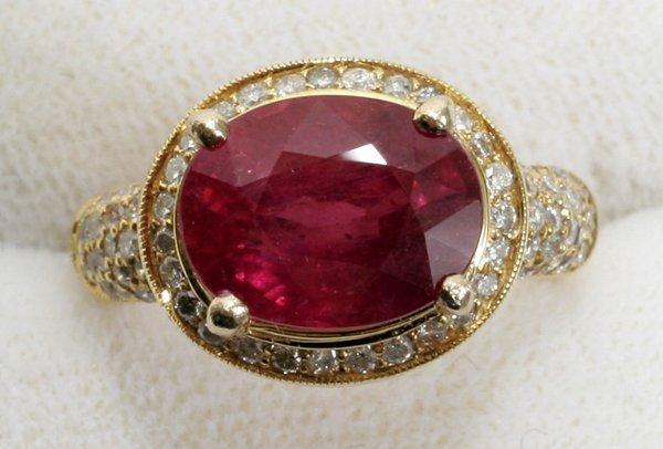 020008: 6.68 CT. RUBY, 1.29 CT DIAMOND & GOLD RING