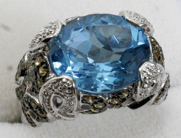 020009: TOPAZ, SAPPHIRE, DIAMOND & WHITE GOLD RING