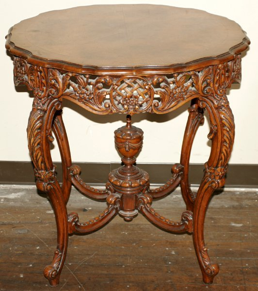 """020156: FRENCH CARVED WALNUT PARLOR TABLE, H 30"""" W30"""""""