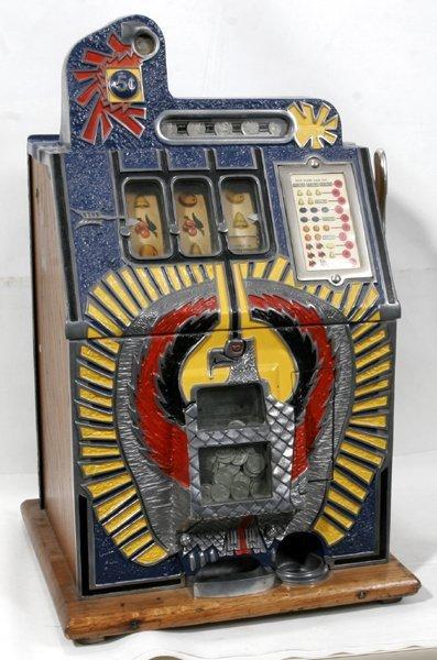 "020015: MILLS SILENT 1931 5¢ SLOT MACHINE, ""WAR EAGLE"""