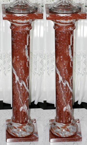 """021008: CLASSICAL ROUGE & GRAY MARBLE PEDESTALS, H 40"""""""