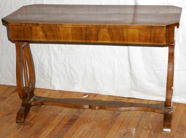 021018: ART NOUVEAU BURL ELM TRESTLE-BASE TABLE