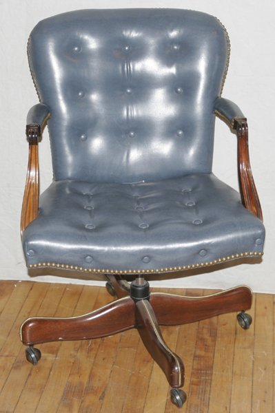 021019: HICKORY CHAIR CO., LEATHER SWIVEL DESK CHAIR