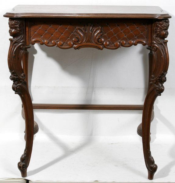 021020: FRENCH STYLE CARVED WALNUT CONSOLE, C. 1930