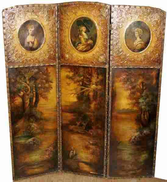 """021118: ENGLISH PAINTED LEATHER SCREEN, C. 1910, H 61"""""""