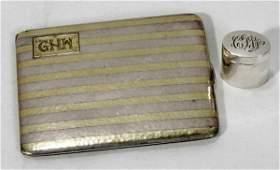 021261: JAMES E. BLAKE STERLING & GOLD CIGARETTE CASE