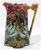 021435 FRENCH MAJOLICA POTTERY PITCHER C 1900 H75