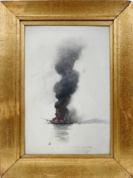 022003: HOWARD PYLE GOUACHE/OIL ON CARDBOARD