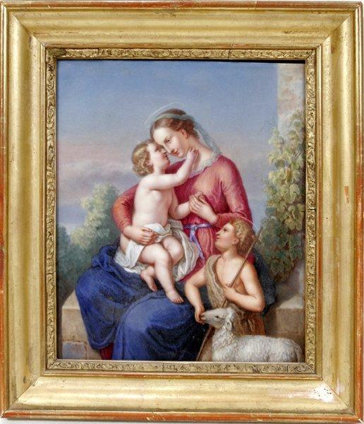 022006: PAINTED PORCELAIN PLAQUE, MADONNA & CHILD