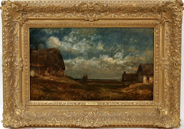 """022009: JULES DUPRE OIL ON CANVAS, C.1855, 15""""x18"""""""