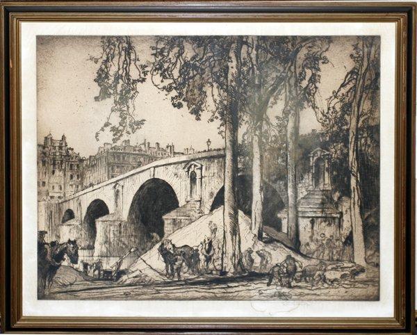022012: SIR FRANK BRANGWYN ETCHING, PONT MARIE, PARIS