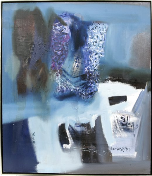 022013: TENG BENG-CHEW OIL ON CANVAS, ABSTRACT SNOW