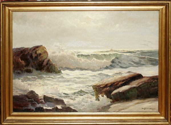 "022017: ROBERT W. WOOD OIL ON CANVAS, ""AT SUNRISE"""